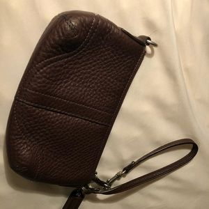 EUC Coach wristlet brown with silver accent